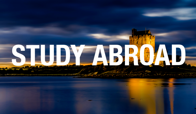 Study Abroad text over image of castle in ireland