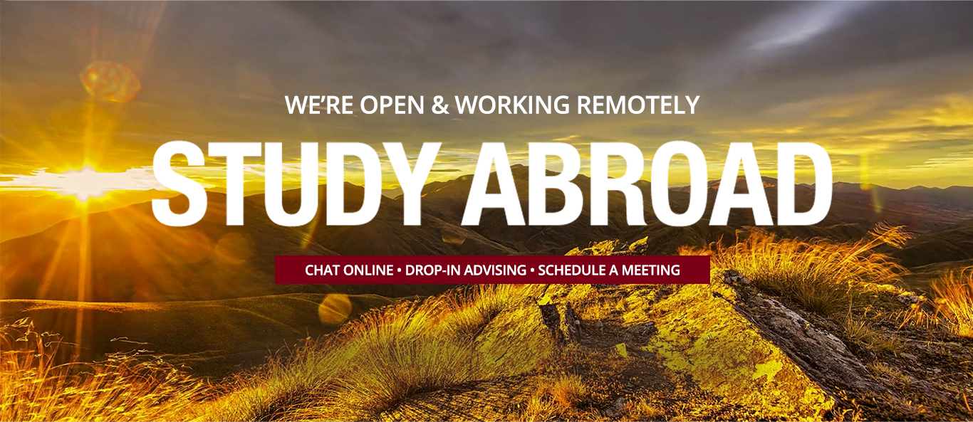 STUDY ABROAD - We're open remotely - chat online - drop-in advising - schedule a meeting - photo of mountains and sunset