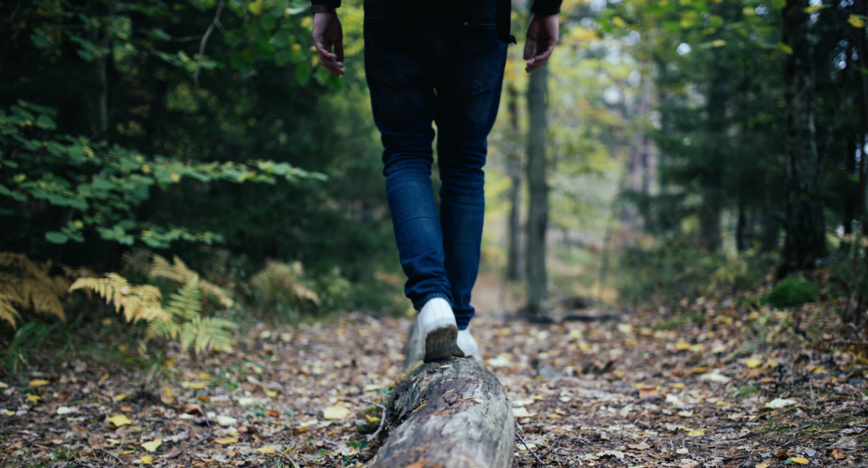 Person walking on log in the woods